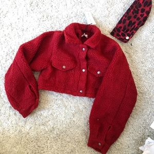 Jackets & Blazers - Red Cropped  Teddy Coat